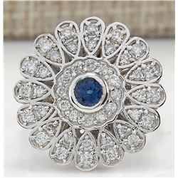 1.70CTW Natural Blue Sapphire And Diamond Ring In18K Solid White Gold