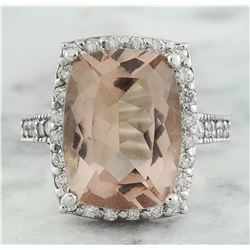 7.10 CTW Morganite 18K White Gold Diamond Ring