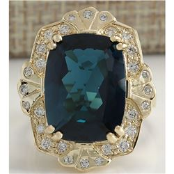 11.39CTW Natural London Blue Topaz And Diamond Ring In14K Solid Yello Gold