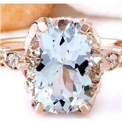 3.40 CTW Natural Aquamarine 18K Solid Rose Gold Diamond Ring