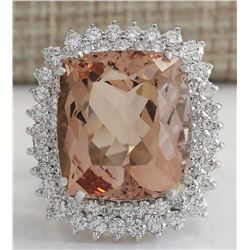 21.86 CTW Natural Peach Morganite And Diamond Ring In 14K Solid White Gold