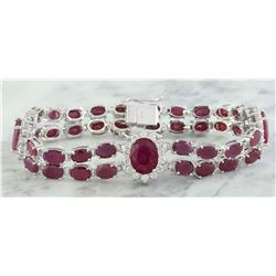 23.25 CTW Ruby 14K White Gold Diamond Bracelet