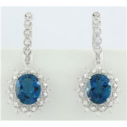 9.75 CTW Topaz 18K White Gold Diamond Earrings