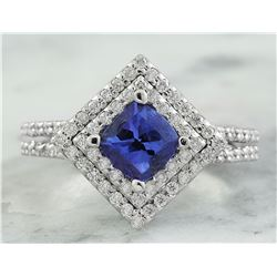 2.00 CTW Tanzanite 18K White Gold Diamond Ring