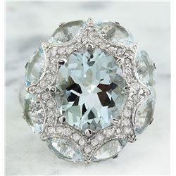 8.00 CTW Aquamarine 18K White Gold Diamond Ring