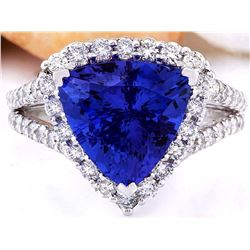 5.03 CTW Natural Tanzanite 18K Solid White Gold Diamond Ring