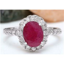 2.83 CTW Natural Ruby 18K Solid White Gold Diamond Ring