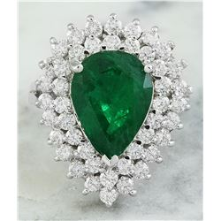5.80 CTW Emerald 18K White Gold Diamond Ring