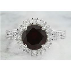 2.65 CTW Garnet 18K White Diamond Ring