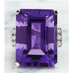 30.25 CTW Amethyst 18K White Gold Diamond Ring