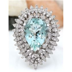 7.18 CTW Natural Aquamarine 14K Solid White Gold Diamond Ring