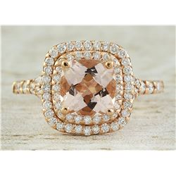 2.25 CTW Morganite 14K Rose Gold Diamond Ring