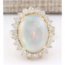 7.26 CTW Natural Opal And Diamond Ring In 14k Yellow Gold
