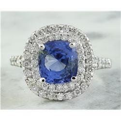4.60 CTW Sapphire 18K White Gold Diamond Ring
