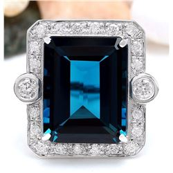 32.09 CTW Natural Topaz 14K Solid White Gold Diamond Ring