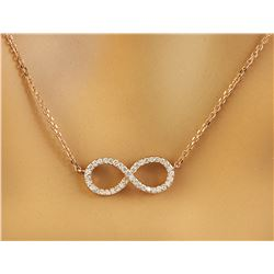 0.30 CTW Diamond 18K Rose Gold Eternity Pendant Necklace