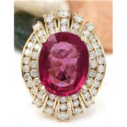 8.33 CTW Natural Tourmaline 18K Solid Yellow Gold Diamond Ring