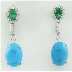10.65 CTW Turquoise Emerald 14K White Gold Diamond Earrimgs