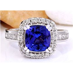 3.70 CTW Natural Tanzanite 18K Solid White Gold Diamond Ring