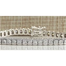 5.60 CTW Natural Dimond Bracelet In 18K Solid White Gold