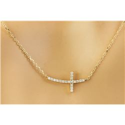 0.15 CTW Diamond 18K Yellow Gold Cross Bar Necklace