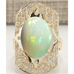 7.38 CTW Natural Opal And Diamond Ring In 14K Yellow Gold