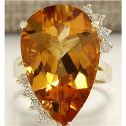 13.75 CTW Natural Citrine And Diamond Ring 18K Solid Yellow Gold