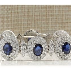 27.75 CTW Natural Sapphire And Diamond Bracelet In 18K Solid White Gold