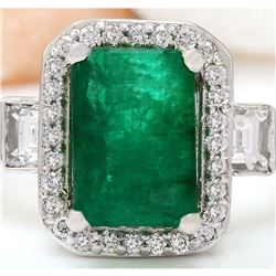3.58 CTW Natural Emerald 18K Solid White Gold Diamond Ring