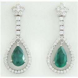 8.80 CTW Emerald 14K White Gold Diamond Earrings