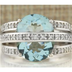 6.40 CTW Natural Aquamarine And Diamond Ring In 18K White Gold