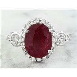 3.00 CTW Ruby 18K White Gold Diamond Ring