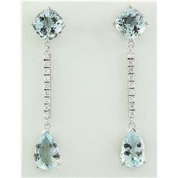 10.50 CTW Aquamarine 18K White Gold Diamond Earrings