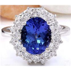 5.31 CTW Natural Tanzanite 18K Solid White Gold Diamond Ring