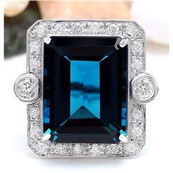 32.09 CTW Natural Topaz 18K Solid White Gold Diamond Ring
