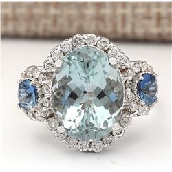 7.41 CTW Natural Aquamarine, Sapphire Diamond Ring In 18K Solid White Gold