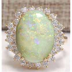 6.31 CTW Natural Australian Opal And Diamond Ring 18K Solid Yellow Gold