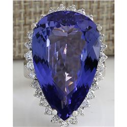 23.32 CTW Natural Tanzanite Diamond Ring 14K Solid White Gold