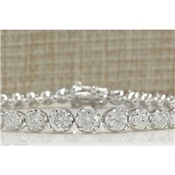 7.50 CTW Natural Diamond Bracelet In 18K Solid White Gold