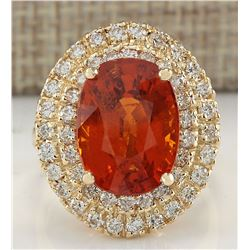 11.64 CTW Natural Mandarin Garnet And Diamond Ring 14K Solid Yellow Gold