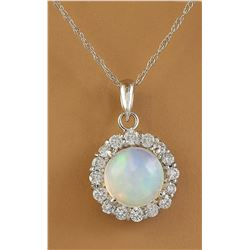1.82 CTW Opal 18K White Gold Diamond Necklace