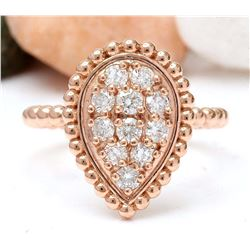 0.50 CTW Natural Diamond 18K Solid Rose Gold Ring