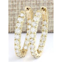 3.20 CTW Natural Diamond Hoop Earrings 14k Solid Yellow Gold