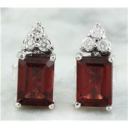 2.65 CTW Garnet 18K White Gold Diamond Earrings