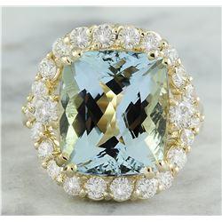 9.20 CTW Aquamarine 18K Yellow Gold Diamond Ring