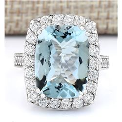 9.36 CTW Natural Aquamarine And Diamond Ring In 14k White Gold