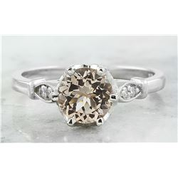 1.45 CTW Morganite 18K White Gold Diamond Ring