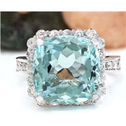 9.80 CTW Natural Aquamarine 18K Solid White Gold Diamond Ring