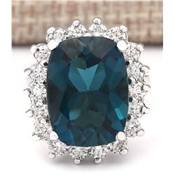 15.04 CTW Natural London Blue Topaz And Diamond Ring In18K Solid White Gold
