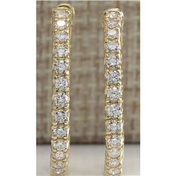 2.13 CTW Natural Diamond Hoop Earrings 18K Solid Yellow Gold
